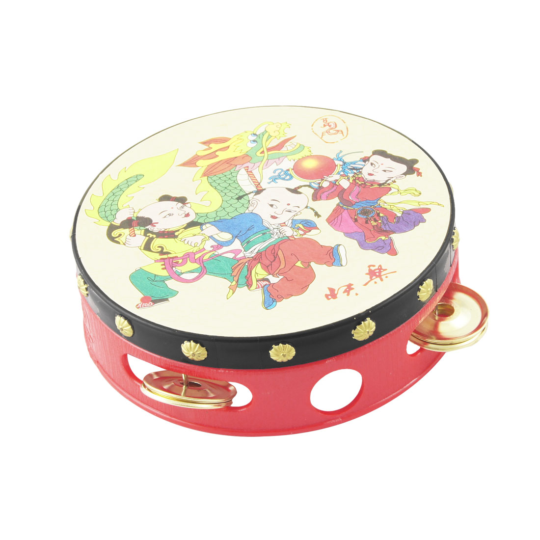 "Chinese Ethnic Toddlers Playing Hand Drum Tambourine Beat Toy 5.3"" Diameter"