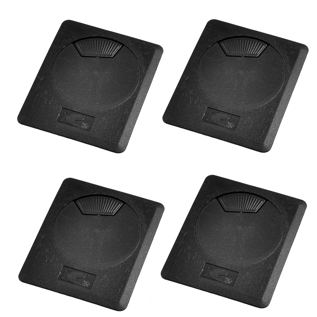 4 Pcs Rectangle Shape Black Plastic Computer Desk Grommet Table Hole Cover