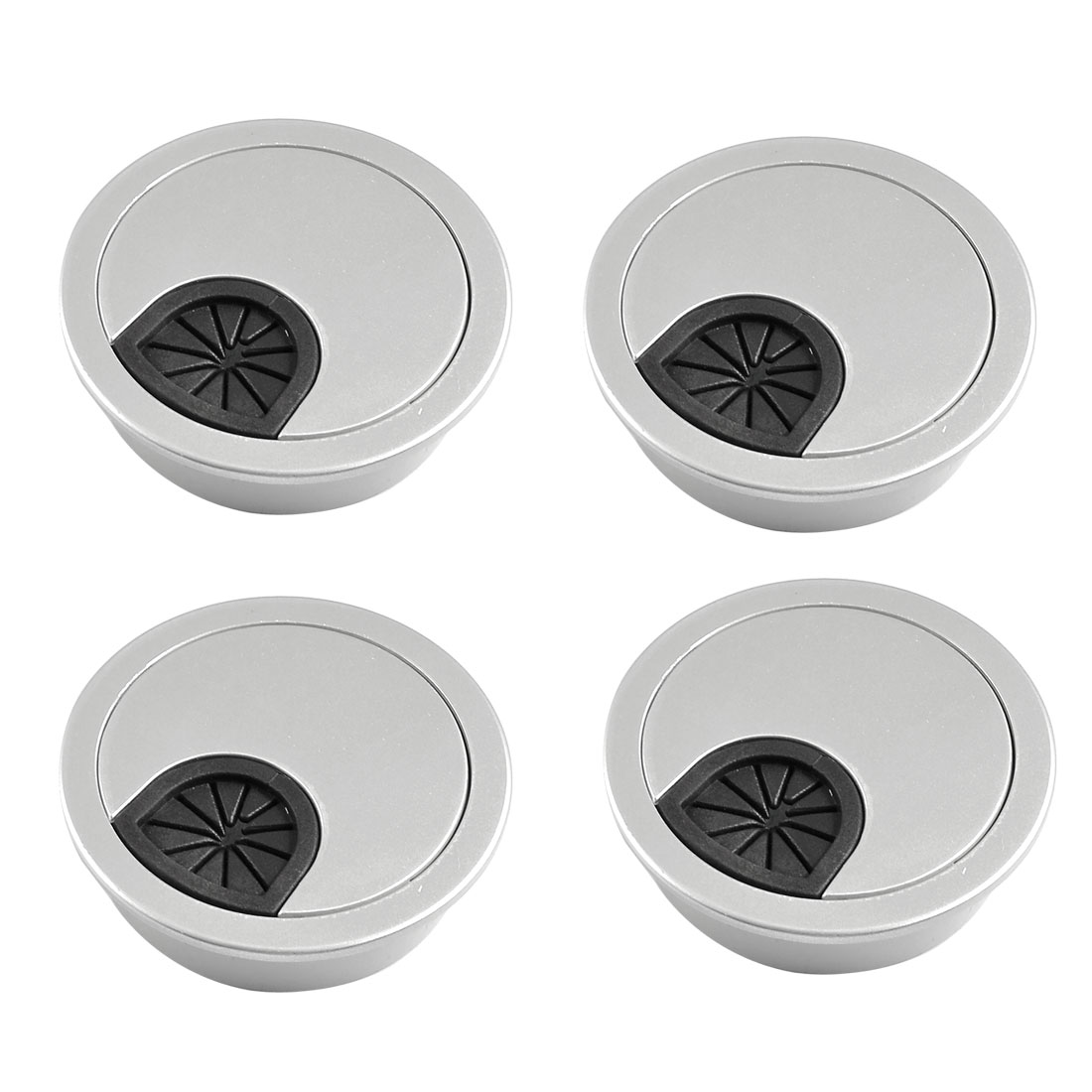 4 Pcs Round Shape Silver Tone Plastic Desk Grommet Table Hole Cover