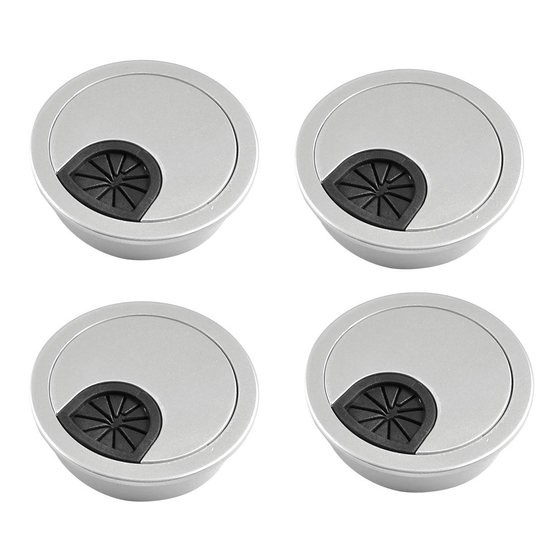 4 Pcs Round Shape Silver Tone Plastic Desk Grommet Table Hole Cover