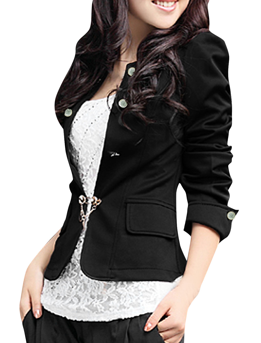 Women Double Breasted Decor Long Puff Sleeve Casual Blazer Coat Black M