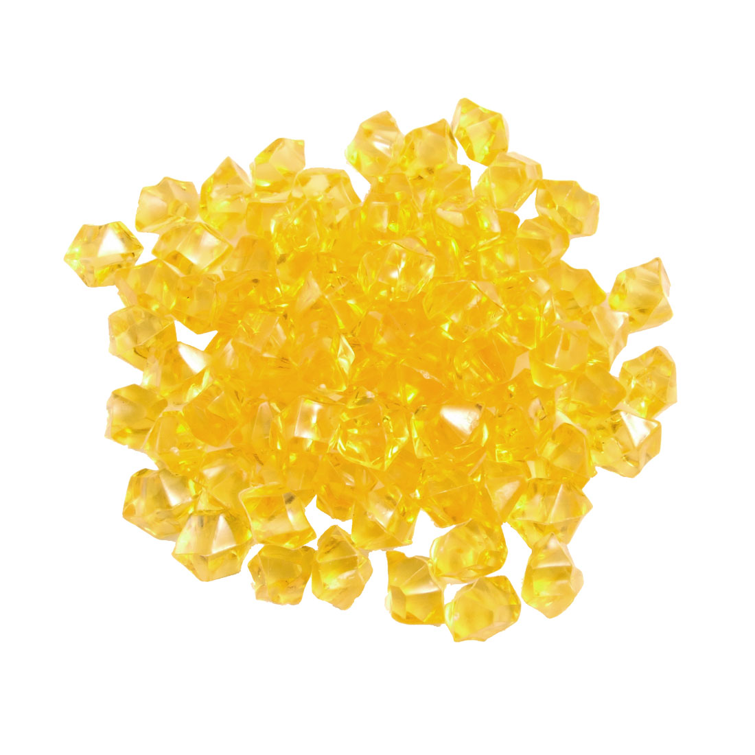 150 Pcs Plastic Crystal Stones Ornament Yellow for Fish Tank