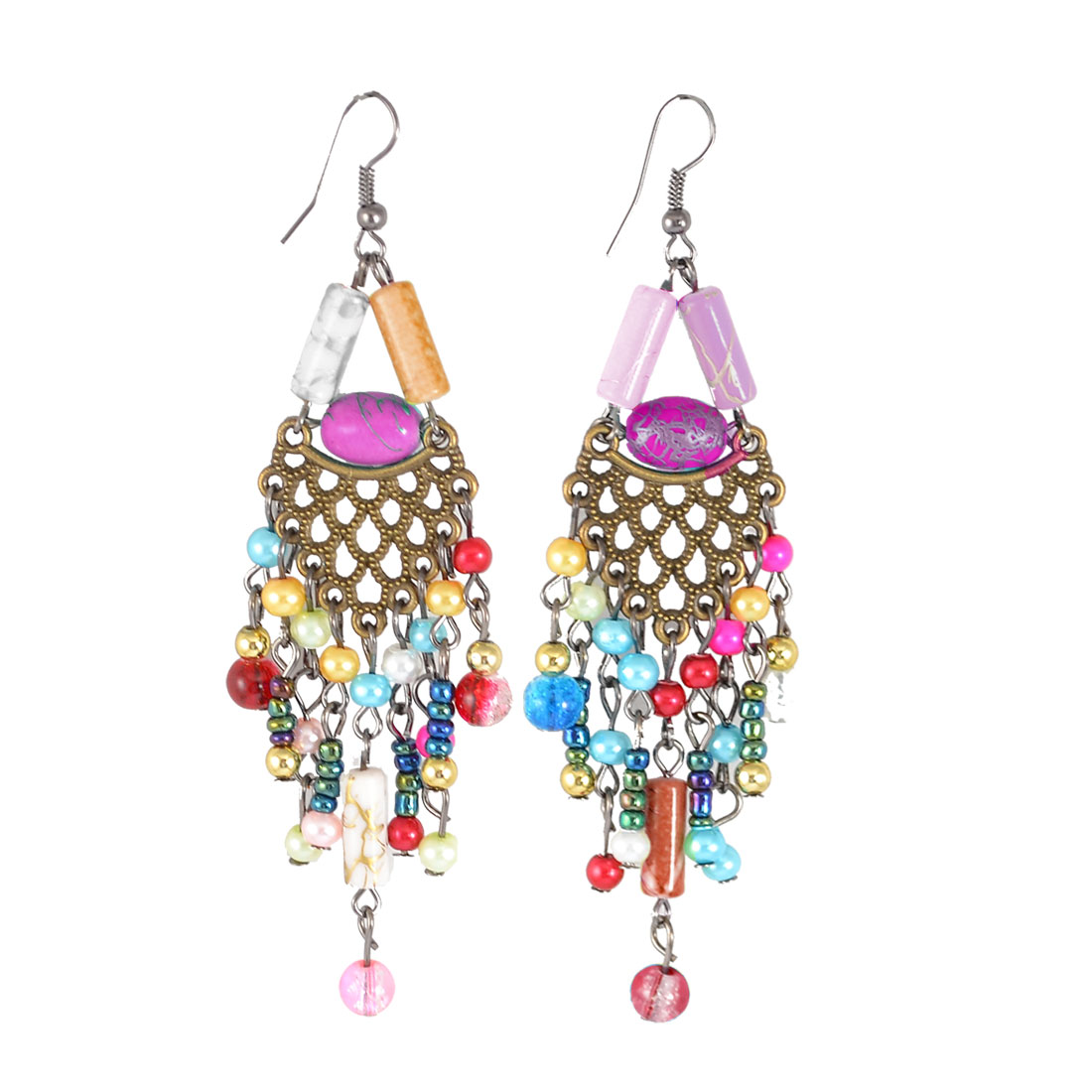 Pair Multicolor Faux Beads Cylinder Decor Folk Fish Hook Earrings for Women