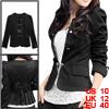 Women Double Breasted Decor Long Puff Sleeve Casual Blazer Coat Black M