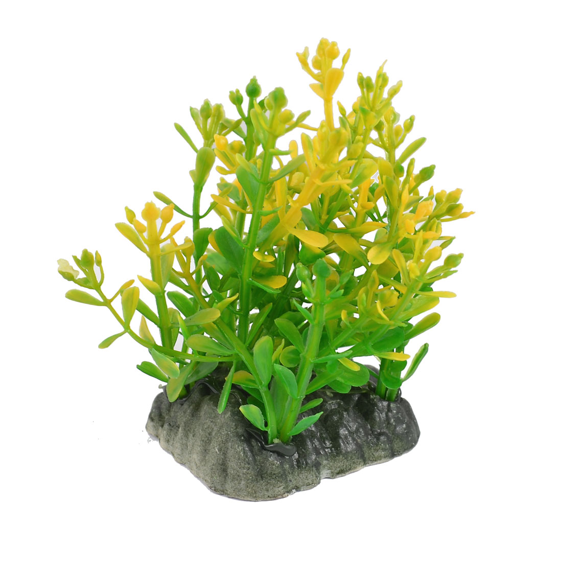 "Aquarium Green Yellow Plastic Water Plants Decoration 3.1"" Height"