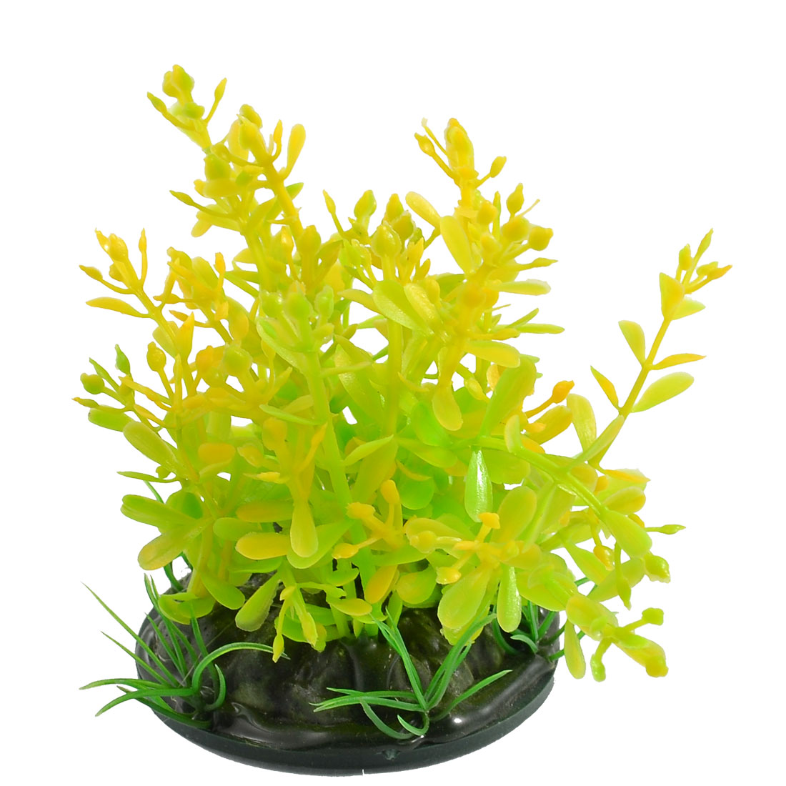 "3.5"" High Green Yellow Artificial Plants Decor w Round Base for Aquarium"