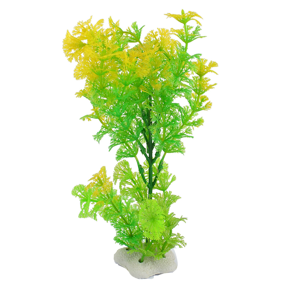 Aquarium Plastic Green Yellow Snowflake Leaf Aquatic Plant Adorn 9""