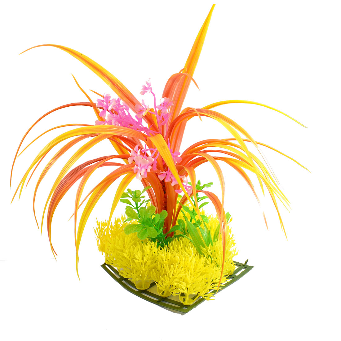 Aquarium Emulational Orange Plants Detail Yellow Square Lawn Decoration