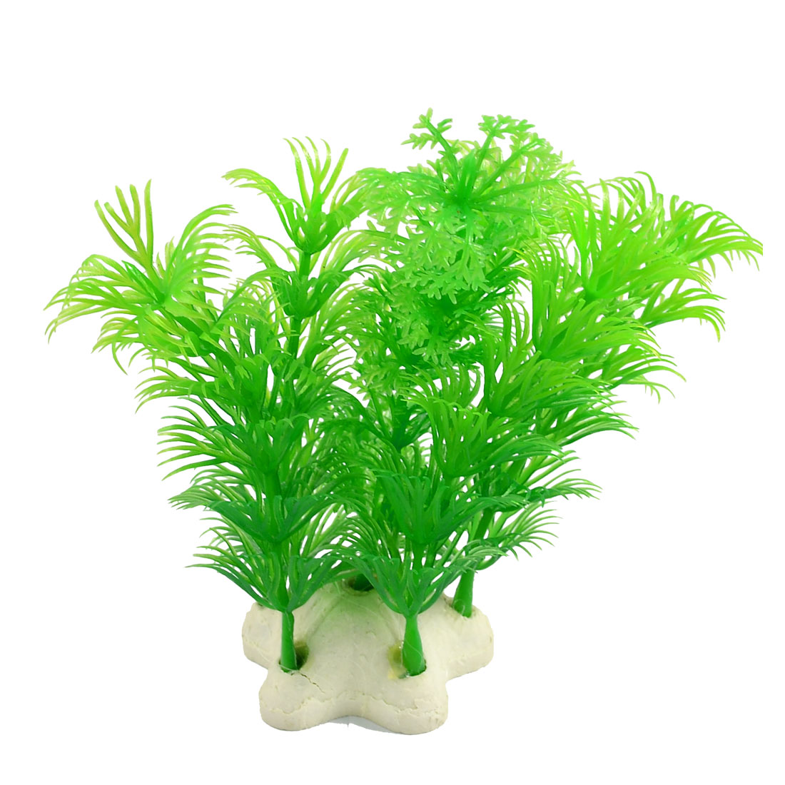 Aquarium Snowflake Leaf Plastic Plant Decoration Green w Star Base
