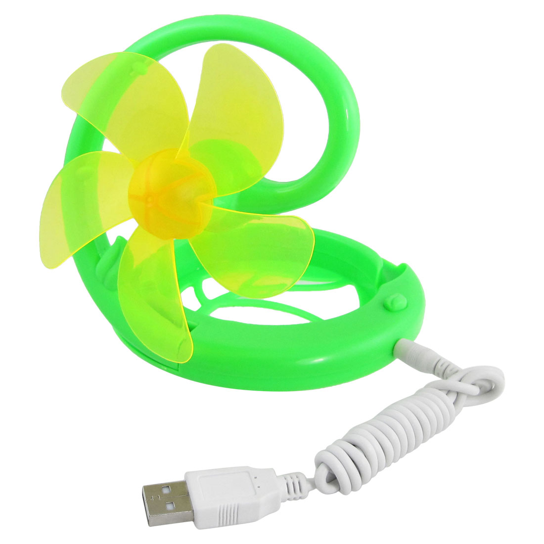 Green Yellow Flower Style Mini Cooling Folding Fan with USB Power Cable