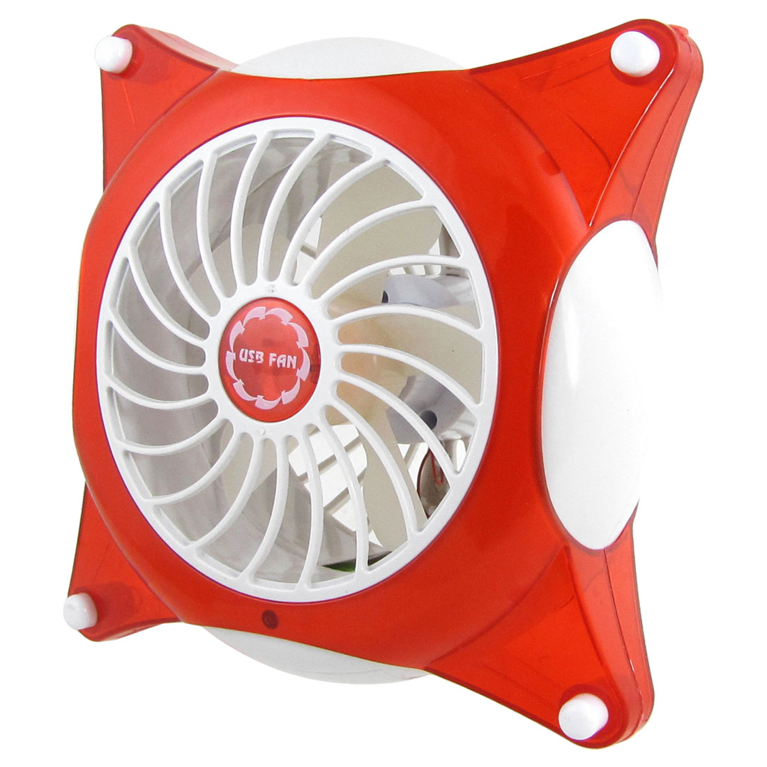 Red White Battery Operated Mini Handy Fan with USB Cable Cord