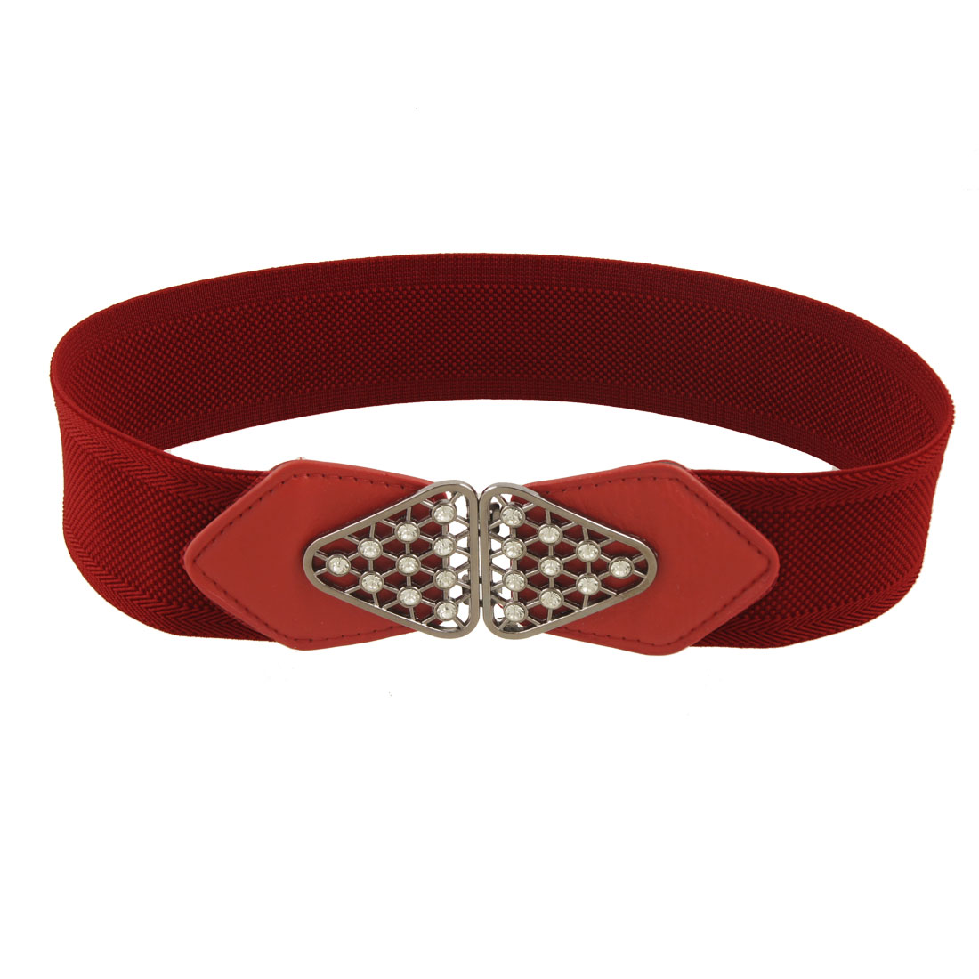 Ladies Lychee Pattern Rhinestone Inlaid Red Stretchy Cinch Belt