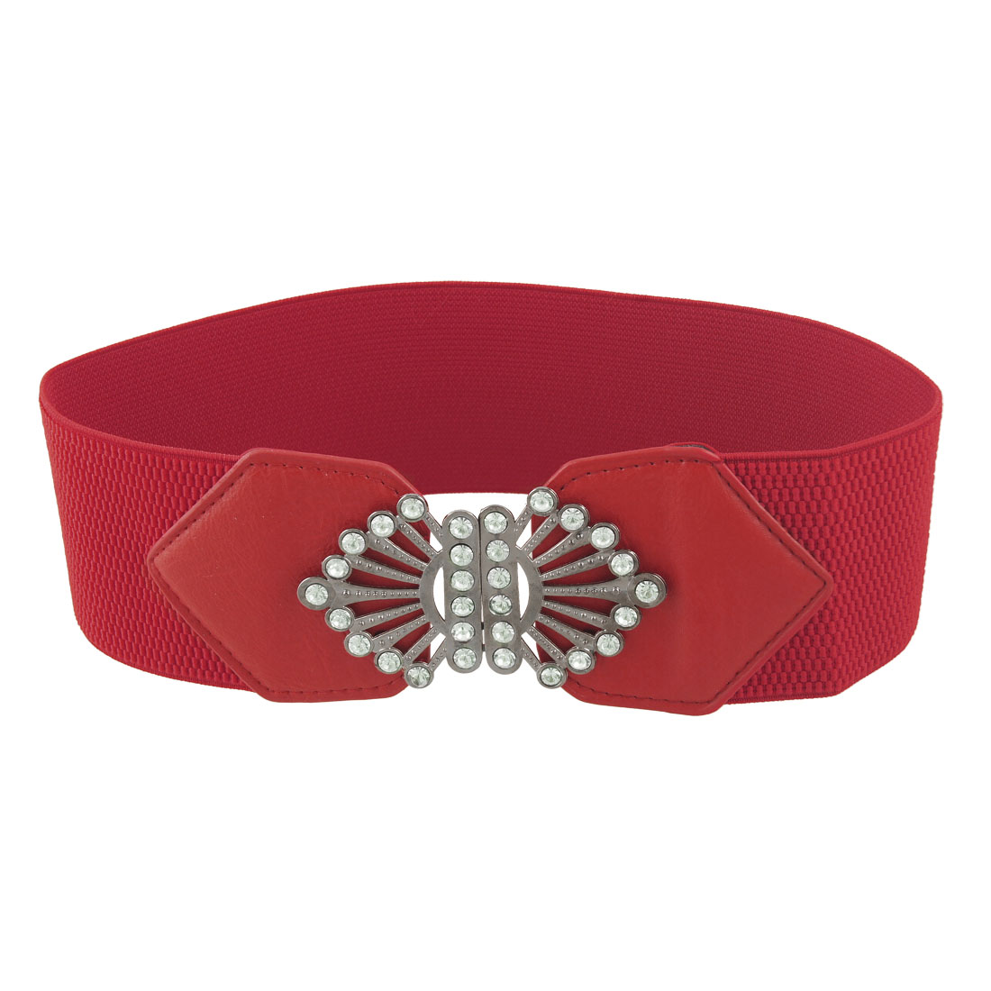 Ladies Rhinestone Inlaid Metal Buckle Stretchy Waist Belt Red
