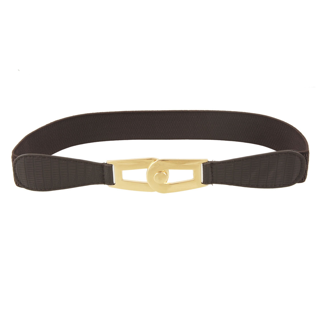Lady Gold Tone Interlocking Buckle Chocolate Color Elastic Waist Belt