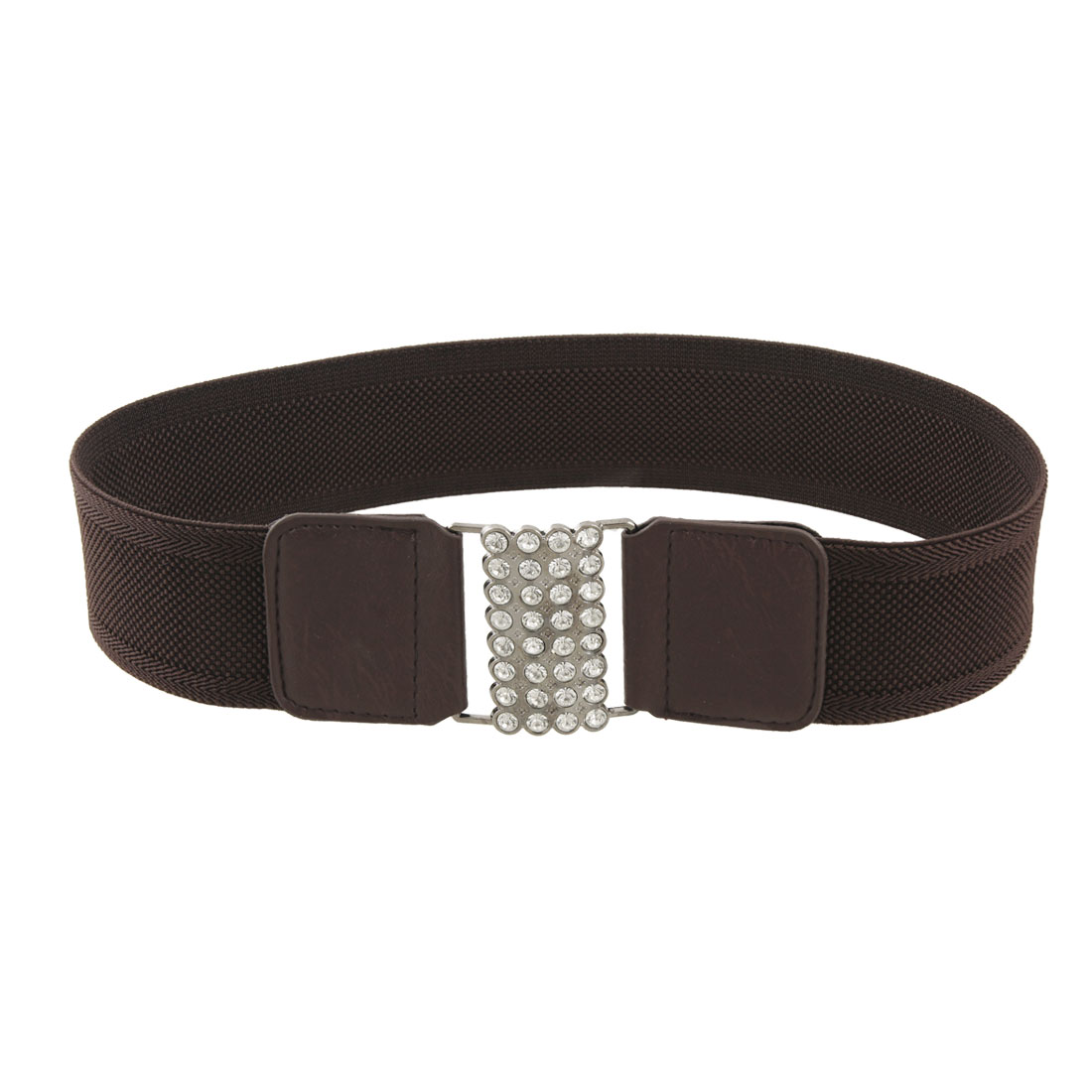 Rhinestone Decor Metal Buckle Dark Brown Elastic Cinch Belt for Woman