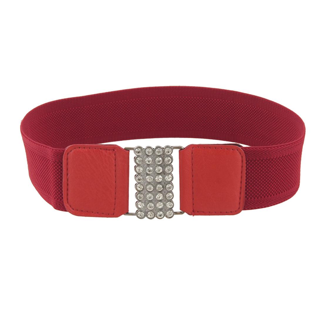 Ladies Rhinestone Decor Square Buckle Red Elastic Cinch Belt