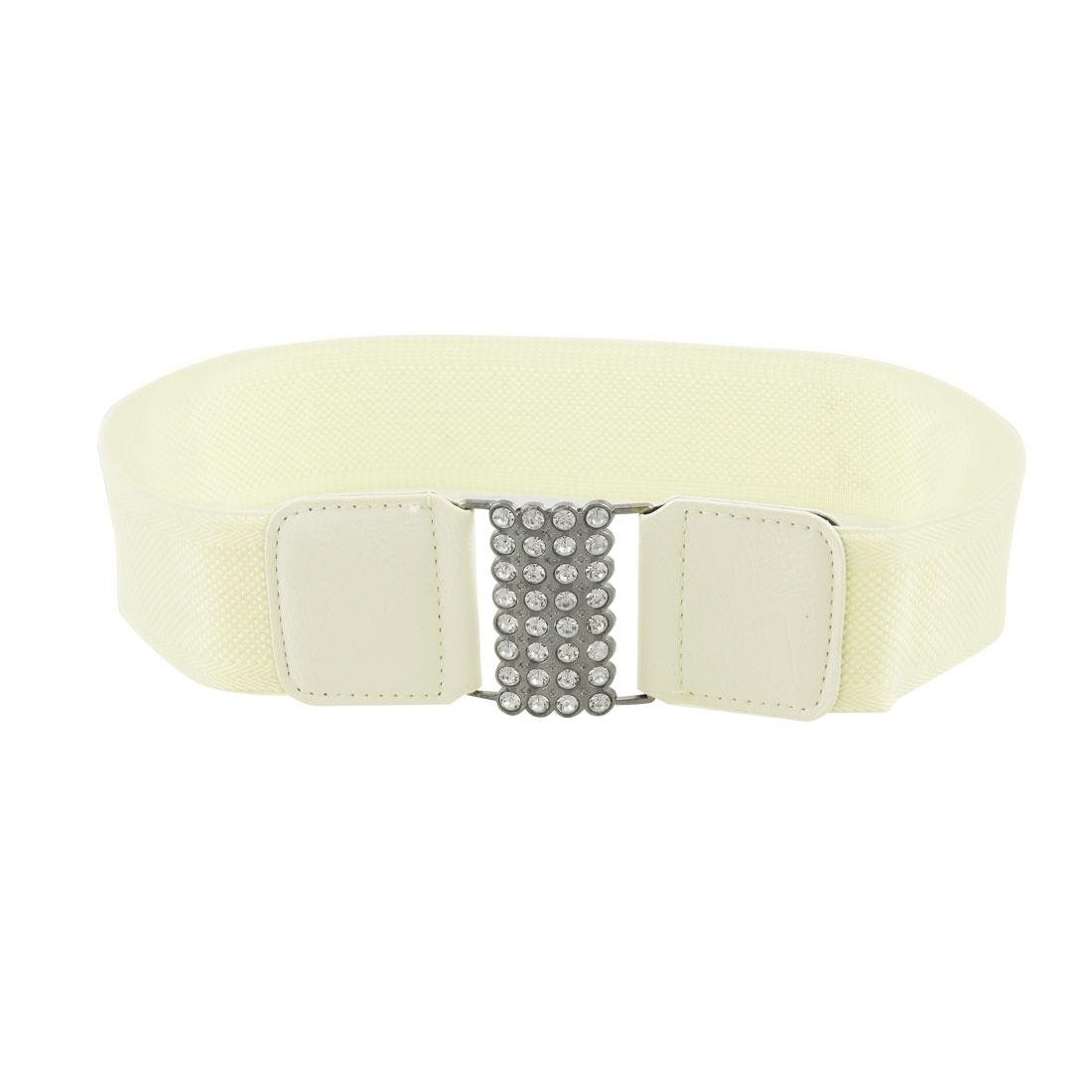 Dark Gray Metal Buckle Elastic Waist Belt Beige for Ladies
