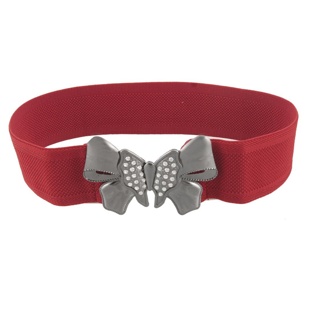 """Women Butterfly Metal Shape Buckle 2"""" Width Stretchy Waist Belt Red"""