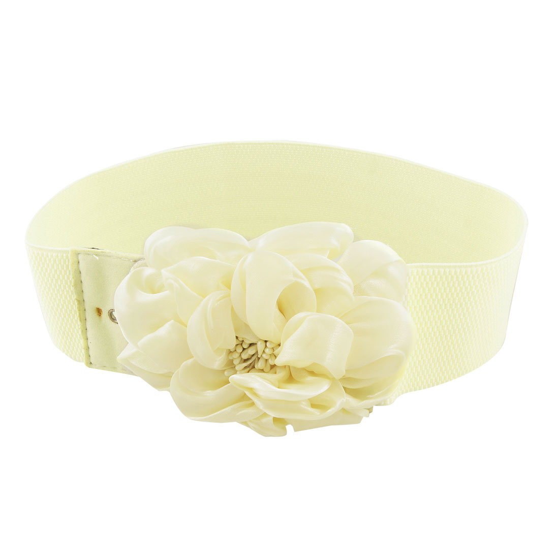 Women Chiffon Floral Design Interlocking Buckle Elastic Waist Belt Beige