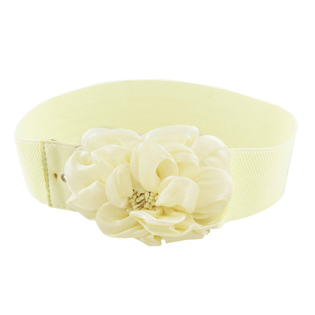 Women Chiffon Floral Design Interlocking Buckle Elastic Waist Belt Beige