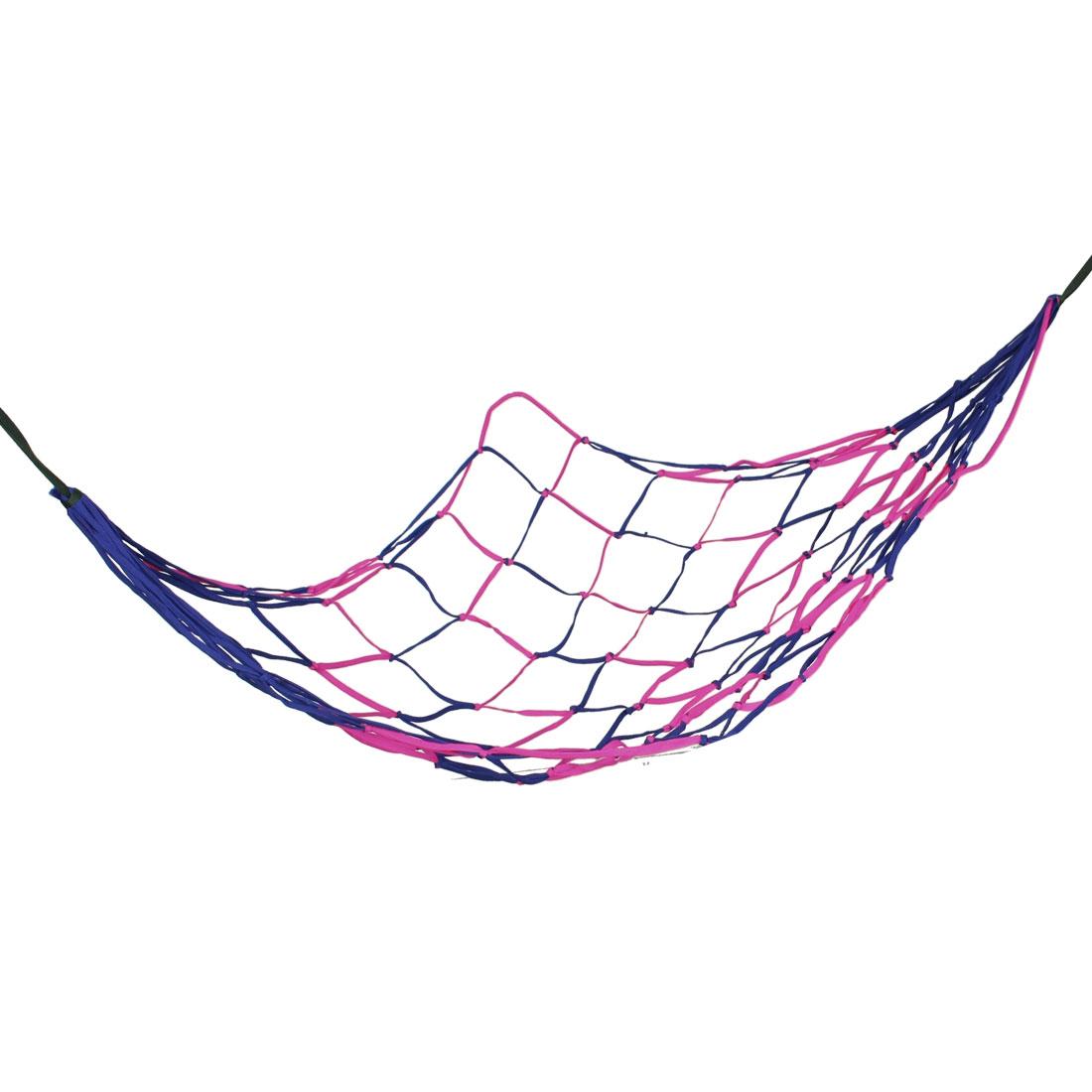"75"" x 28"" Backyard Nylon Hang Hammock Mesh Net Sleeping Bed Blue Fuchisa"