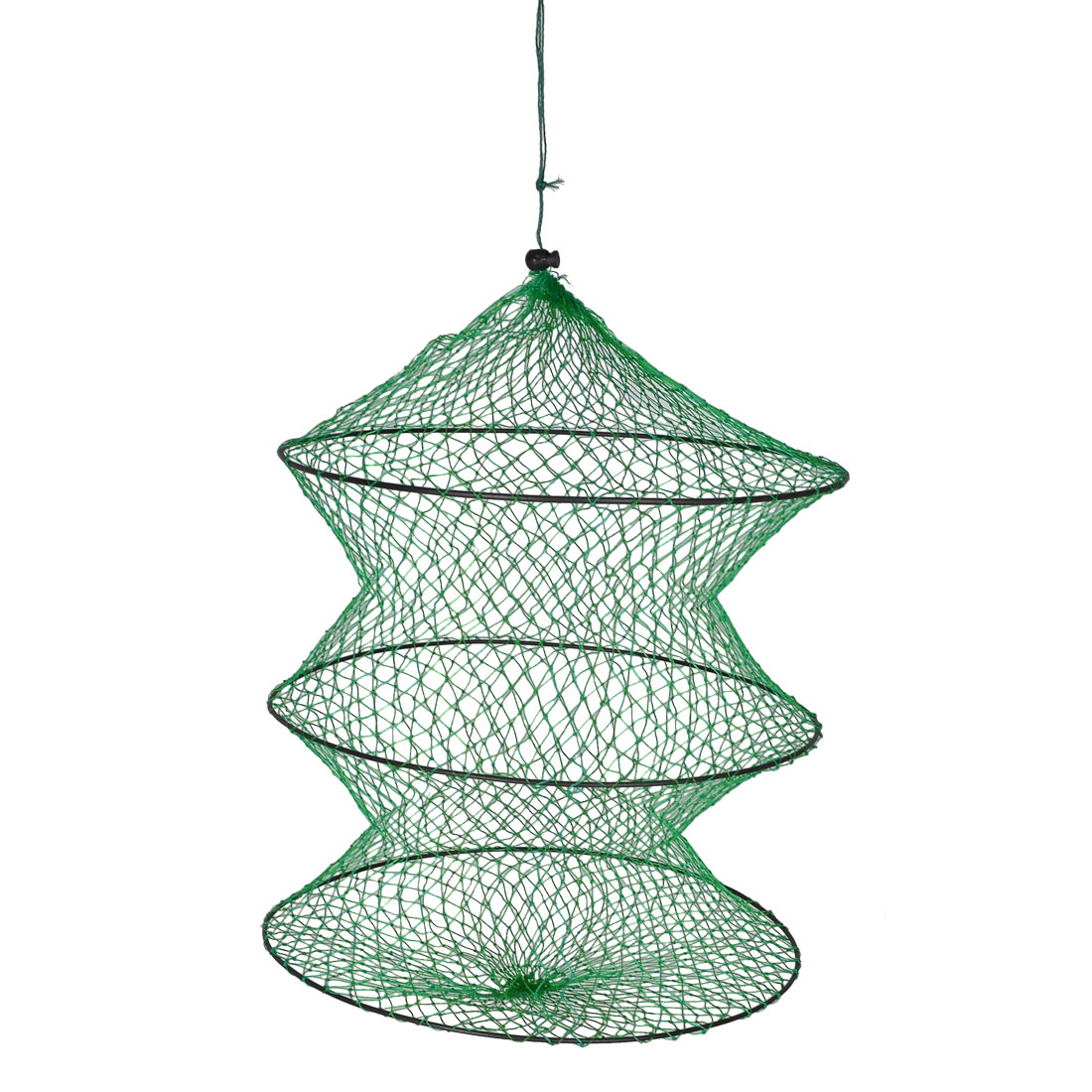 Green Folding 2 Section Crab Lobster Fish Basket Fishing Net