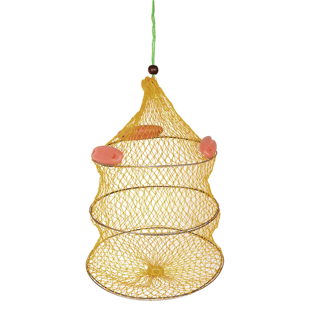 Yellow Round Metal Frame Collapsible Design Fish Cage Fishing Net