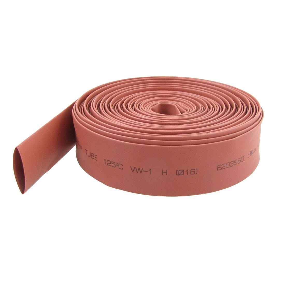 Red 16mm Dia Polyolefin Heat Shrinkable Sleeving Tube 10 Meters