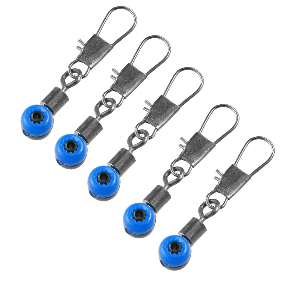 5 Pcs Line to Hook Fishing Crane Swivel Interlock Ring Connector