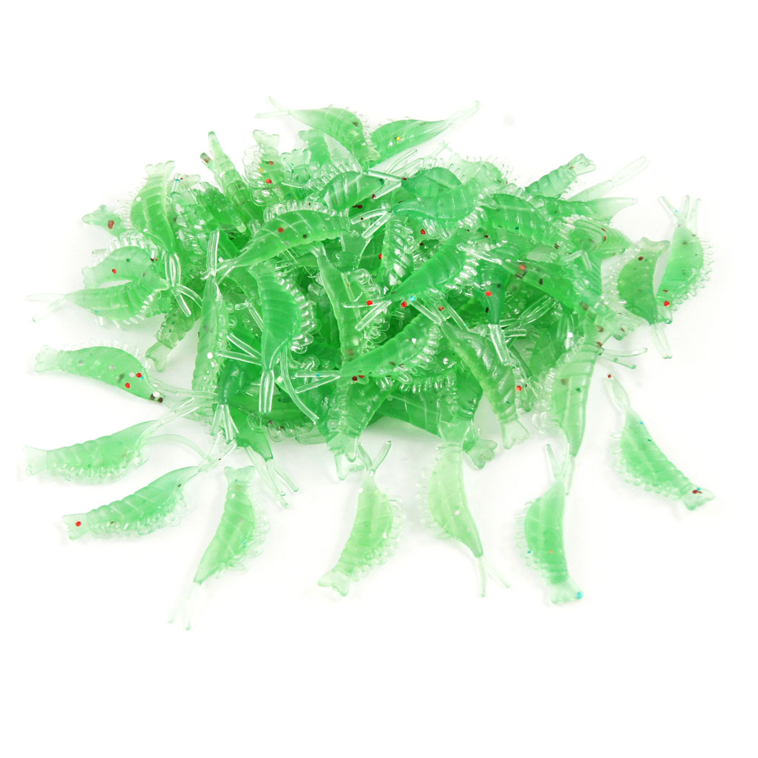 100 Pcs Silicone Soft Green Shrimp Shaped Fishing Lure Baits
