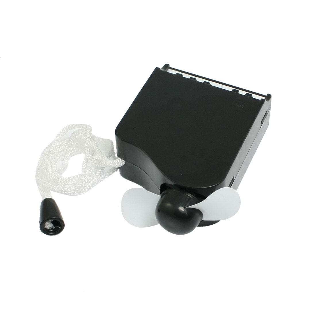 Battery Power Black Plastic Piano Shaped Neck Strap Cooler Mini Fan