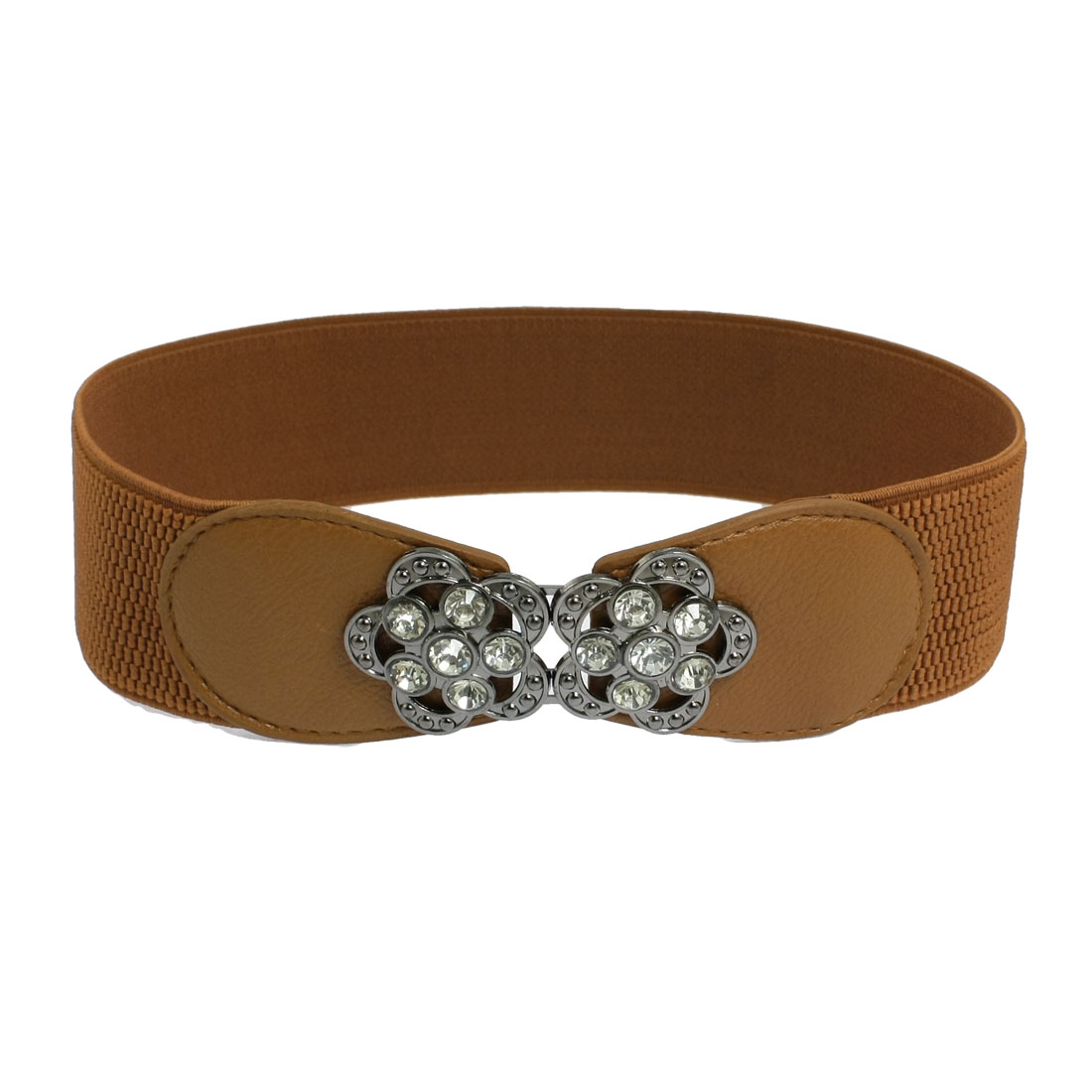 Lady Brown 5cm Width Elastic Band Rhinestone Metal Flower Cinch Waist Belt