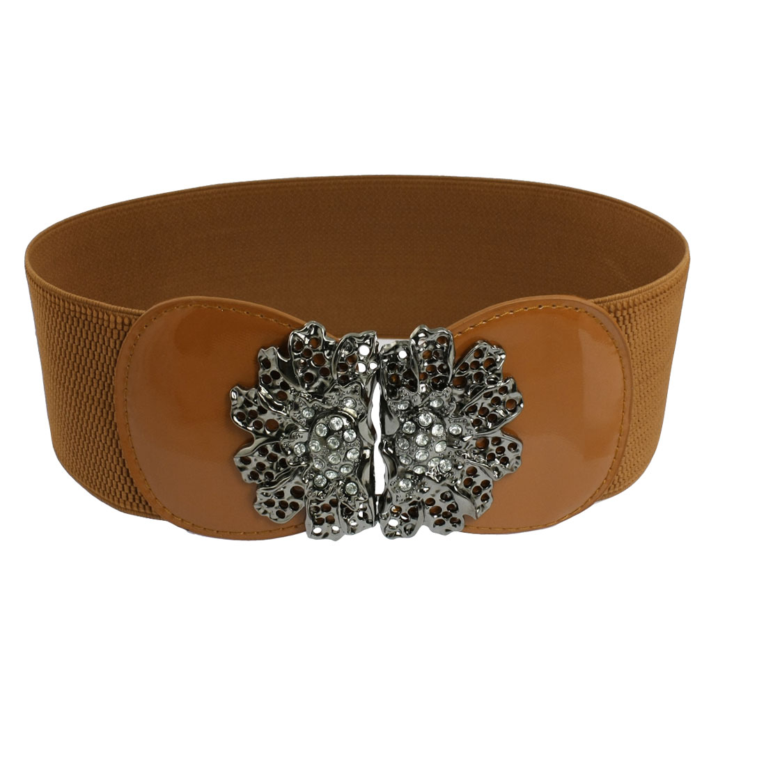Brown Elastic Band Rhinestone Metal Floral Cinch Waist Belt for Lady