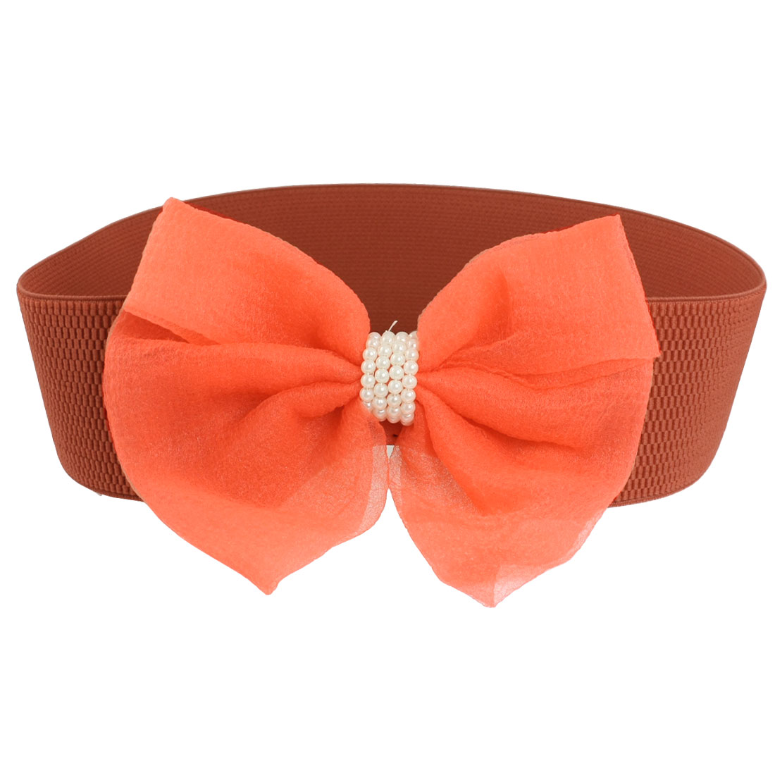 Lady Red Elastic Band Bowknot Decor Cinch Waist Belt
