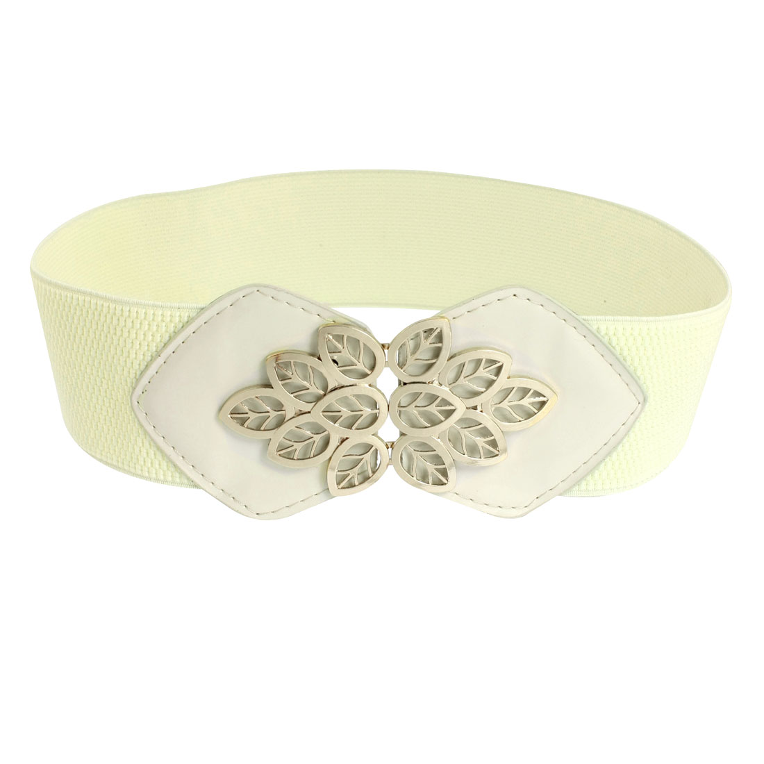 Woman Beige Faux Leather Metal Leaf Decor Elastic Band Waist Belt
