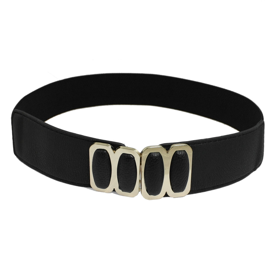 Black Elastic Band Faux Leather Cinch Waist Belt for Lady