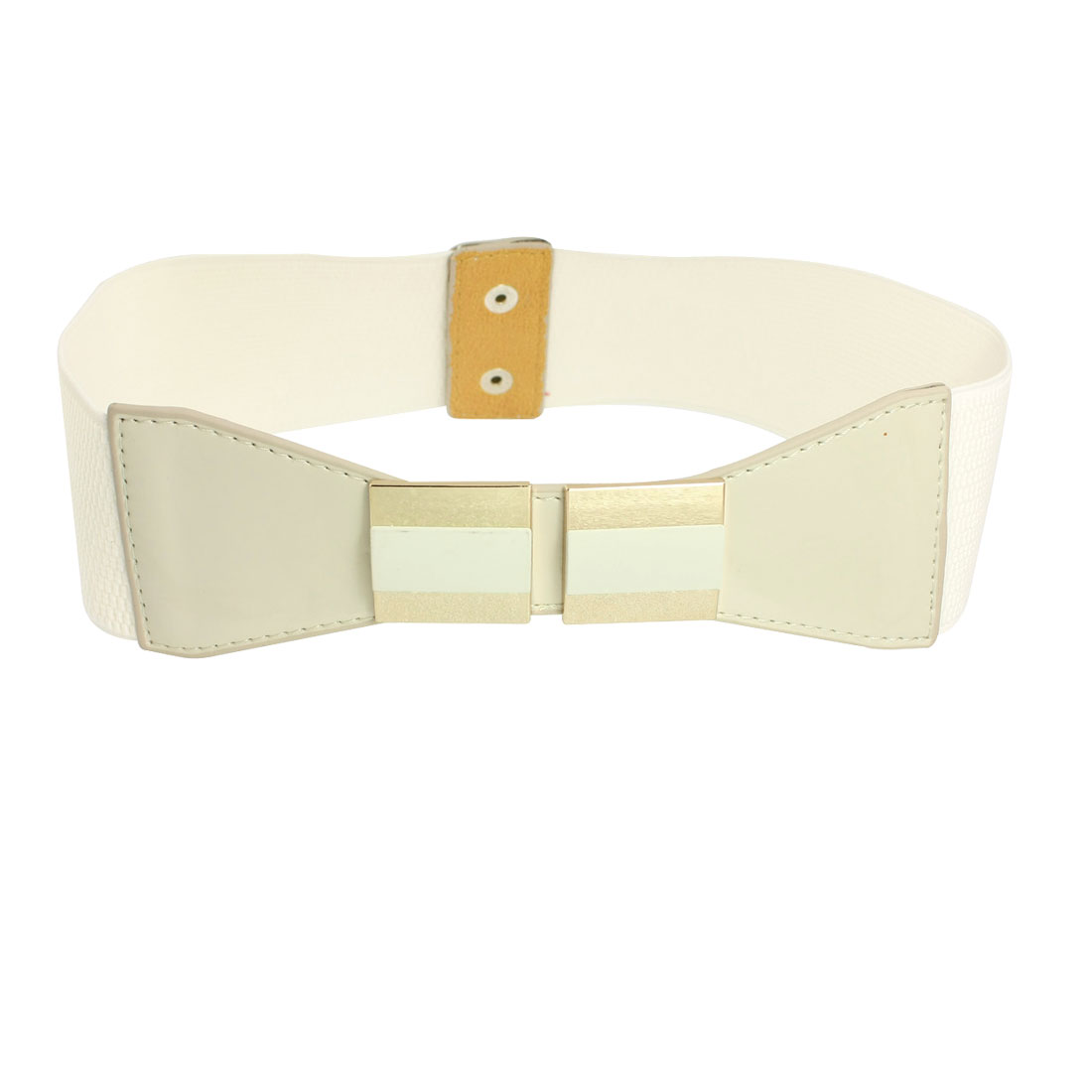 Off White Faux Leather Bowknot Elastic Band Waist Belt for Woman