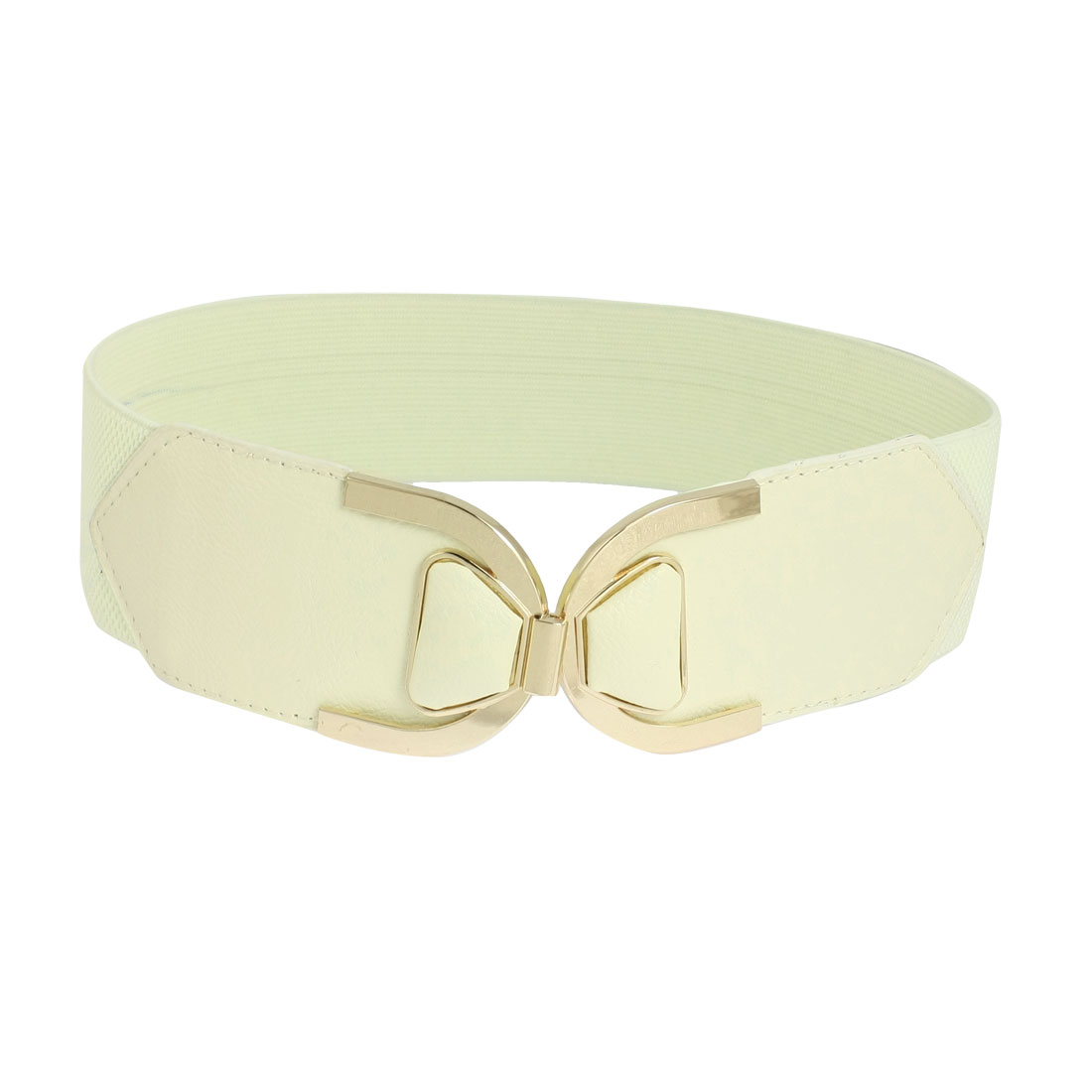 Beige Faux Leather Elastic Cinch Band Waist Belt for Woman