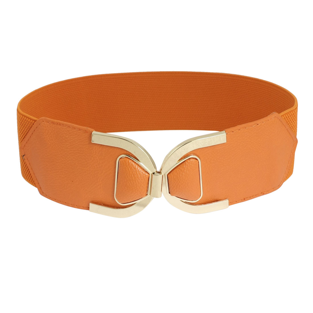 Orange Faux Leather Elastic Cinch Band Waist Belt for Woman