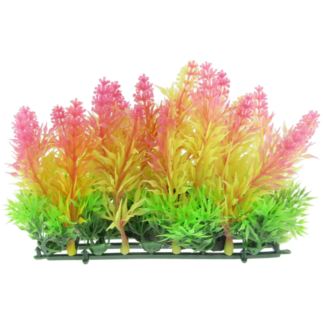 "3.9"" Height Fuchsia Yellow Artificial Water Plants Lawn Decor for Aquarium"