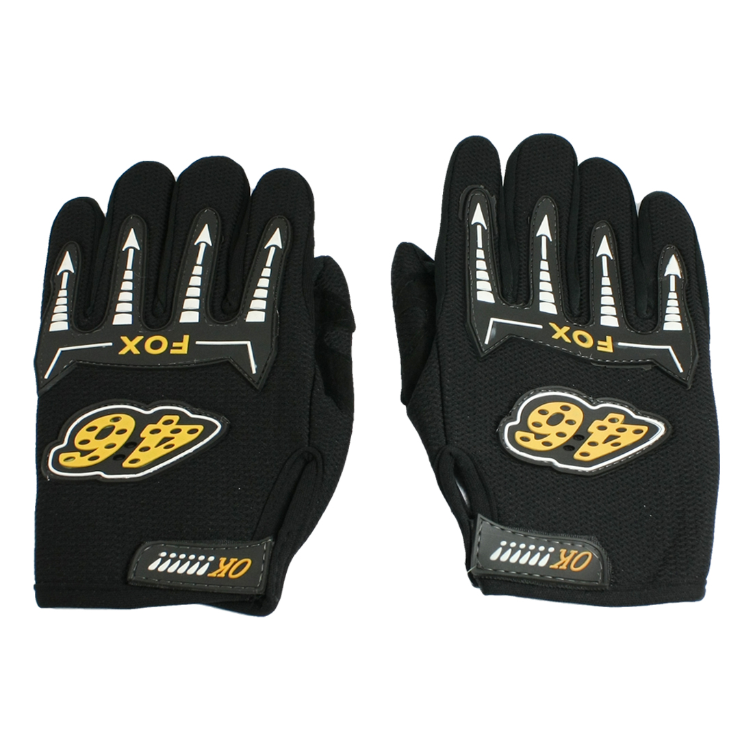 Pair Mesh Holes Design Nonslip Palm Full Finger Riding Gloves Black for Men