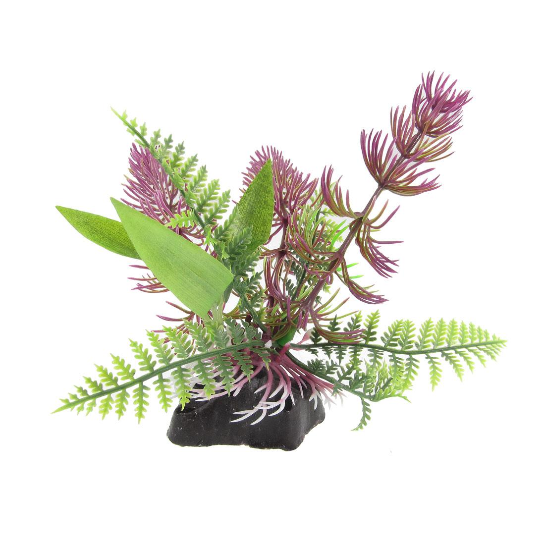 "Fish Tank Ornament Ceramic Base Green Amaranth Plastic Plant 5.5"""