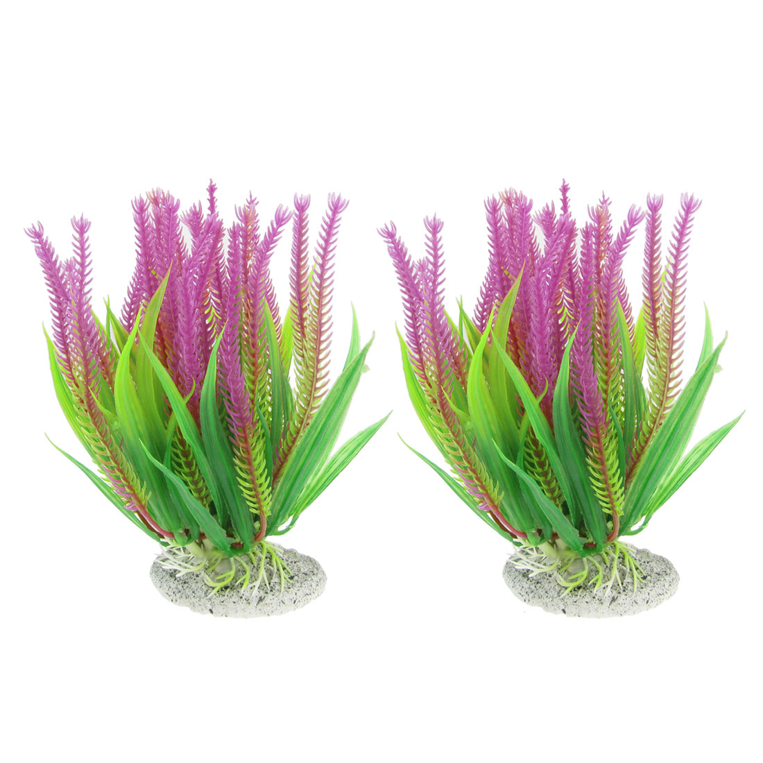 "5.1"" High Manmade Green Fuchsia Plastic Plant 2 Pcs for Fish Tank"
