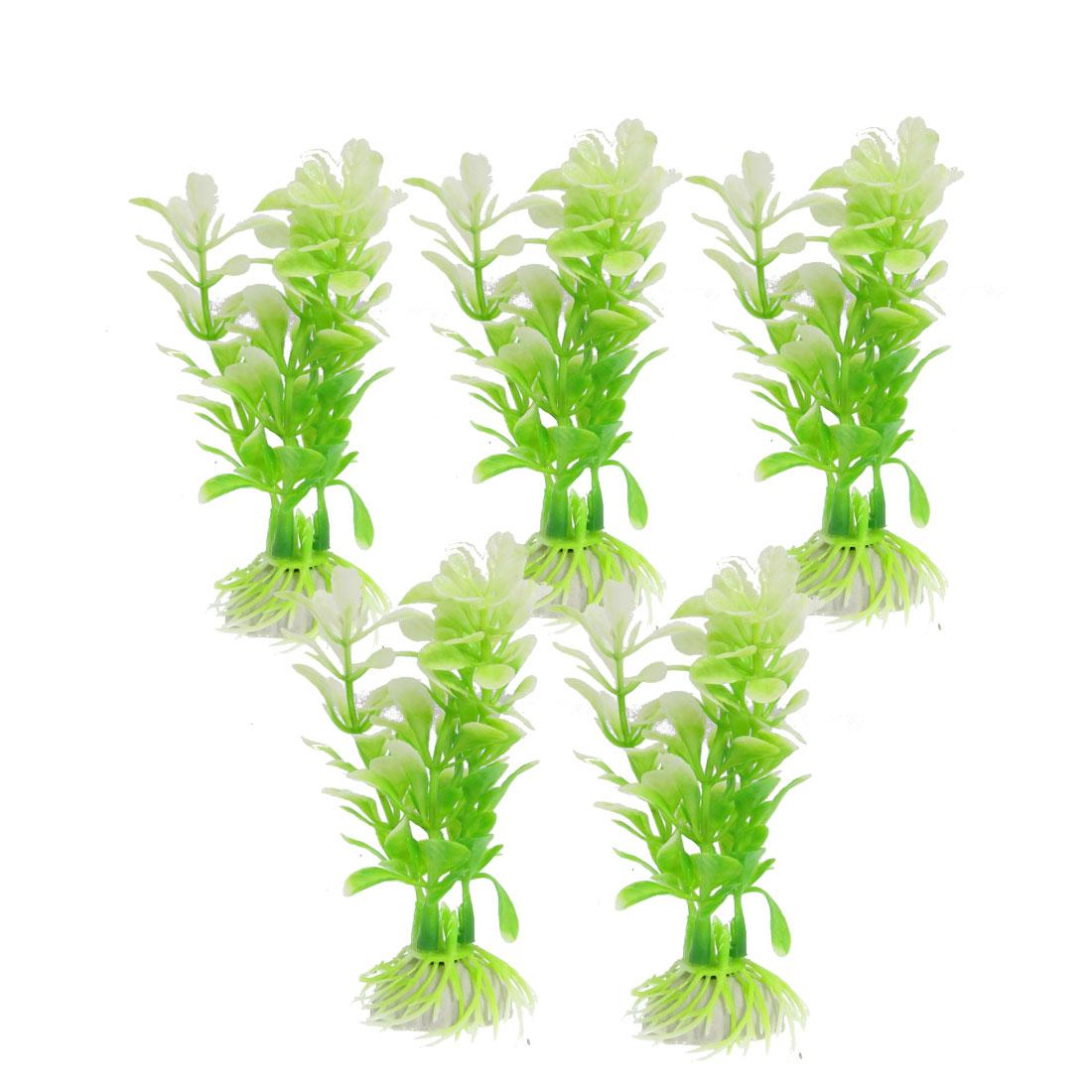 "Fish Tank Ornament 4.3"" Height Green White Plastic Plant 5 Pcs w Base"