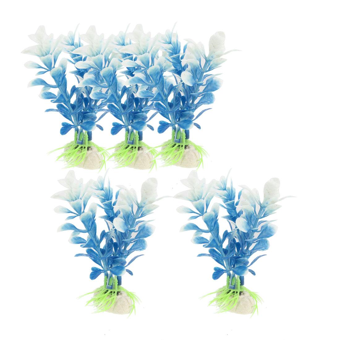 """5 Pcs Ceramic Base Blue White Plastic Plants 4.3"""" for Fish Tank Ornament"""