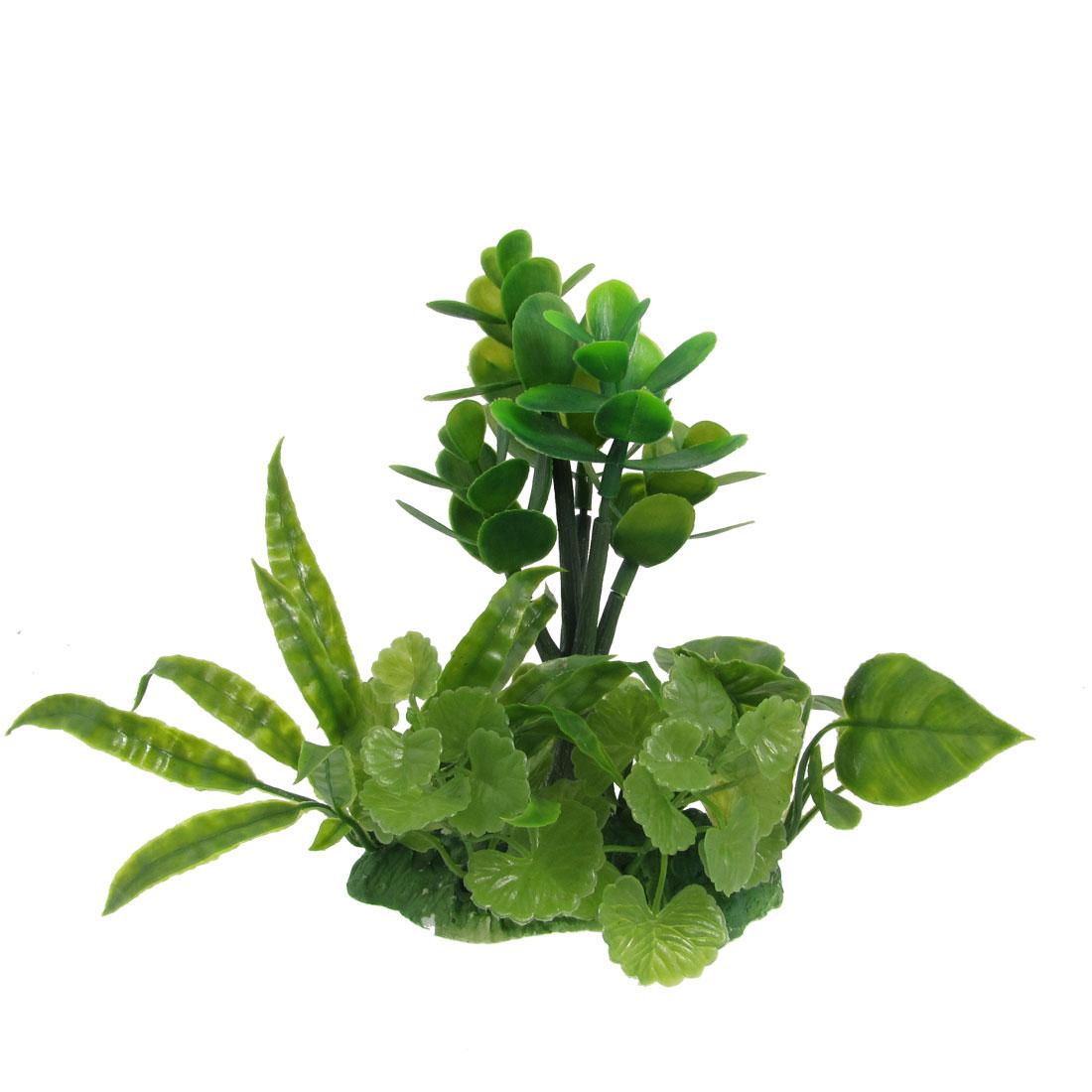 "Aquarium Emulational Green Plastic Plant Ornament 7.3"" w Ceramic Base"