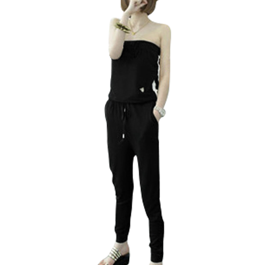 Woman Drawstring Waist Black Strapless Full Length Jumpsuit XS
