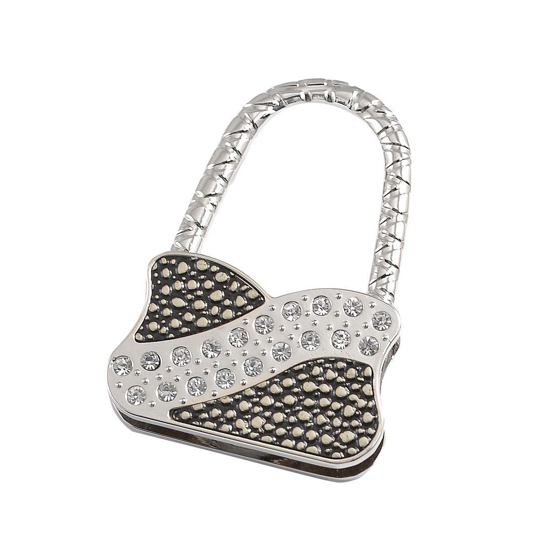 Handbag Shape Metal Rhinestone Decor Foldable Bag Hook Hanger