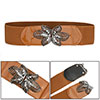 Dark Gray Interlocking Buckle Brown Stretchy Cinch Belt for Women