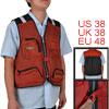 Men Red Black Man Multi Pockets Zipper Mesh Fishing Vest M